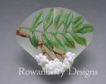 Rowan Leaf and Blossom - Handmade Lampwork Art Glass Focal Bead - Rowanberry Designs - Pendant upgrade Available RWL3
