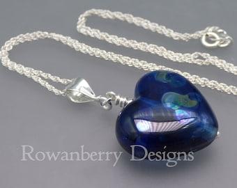 Blue Heart Pendant and Optional Chain - Handmade Lampwork Glass & 925 Sterling Silver - Rowanberry Designs - HRT4