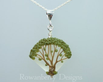 Celtic Oak Tree Pendant and Optional Chain - Art Nouveau Handmade Lampwork Glass & 925 Sterling Silver - Rowanberry Designs SRA - TRP1