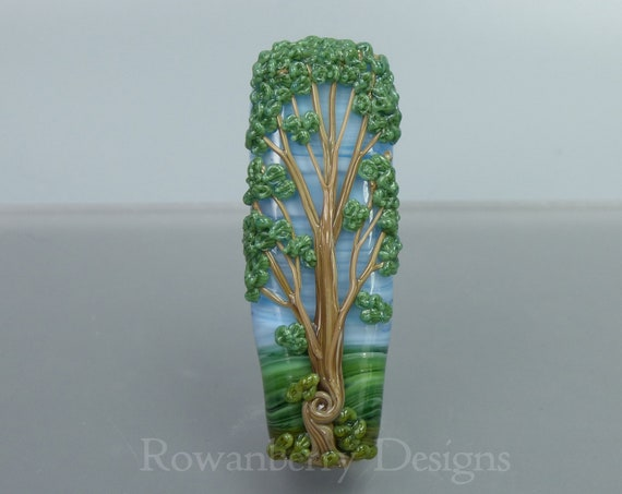 Tall Twisty Tree  - Handmade Lampwork Glass Art Focal Bead - Rowanberry Designs SRA - Pendant upgrade available - TRB2