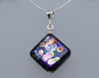 Black Square Pendant and Optional Chain - Handmade Lampwork Glass & 925 Sterling Silver - Rowanberry Designs - FRT1