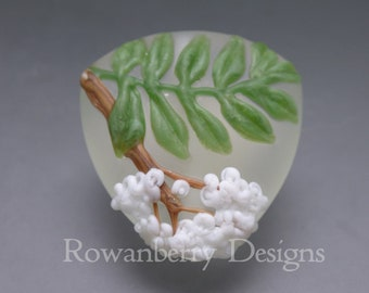 Rowan Leaf and Blossom - Handmade Lampwork Art Glass Focal Bead - Rowanberry Designs - Pendant upgrade Available RWL4