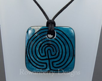 Labyrinth Pendant Cord Necklace - Handmade Fused Painted Glass & 925 Sterling Silver - Rowanberry Designs - LBY1
