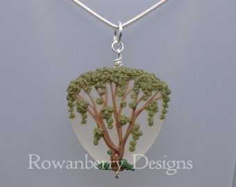 Weeping Willow Tree Pendant and (optional) Chain - Art Nouveau Handmade Lampwork Glass & Sterling Silver - Rowanberry Designs - WLW6