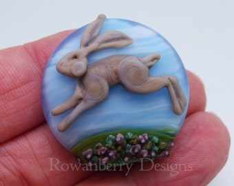 Leaping Hare Landscape  - Handmade Lampwork Art Glass Focal Bead - Rowanberry Designs - Sterling Silver Pendant & Chain Available -HRA3
