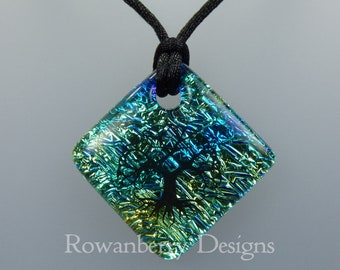 Celtic Tree Pendant Cord Necklace - Handmade Fused Art Dichroic Glass & 925 Sterling Silver - Rowanberry Designs - CLTC3