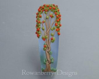 Rowan Berry Tree  - Handmade Lampwork Glass Art Focal Bead - Rowanberry Designs SRA - Pendant upgrade available - ROW2