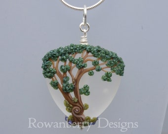 Tree Swaying in the Wind - Pendant and (optional) Chain - Art Nouveau Handmade Lampwork Glass & Sterling Silver - Rowanberry Designs - ATR1