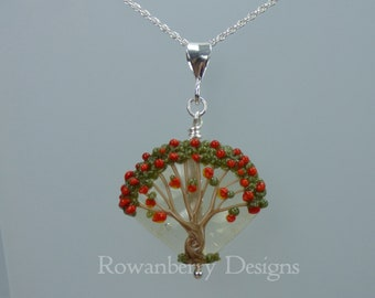 Rowan Berry Tree Pendant and Optional Chain - Art Nouveau Handmade Lampwork Glass & 925 Sterling Silver - Rowanberry Designs SRA - TRP5