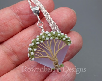 Summer Blossom Tree Pendant and Optional Chain - Art Nouveau Handmade Lampwork Glass & 925 Sterling Silver - Rowanberry Designs - TRP1