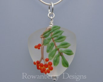 Rowan Leaf and Berries Pendant and (optional) Chain - Art Nouveau Handmade Lampwork Glass & Sterling Silver - Rowanberry Designs - BER5