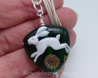 Leaping White Hare and Moon - Pendant and (optional) Chain - Handmade Lampwork Art Glass  Bead & Sterling Silver - Rowanberry Designs - HRP3