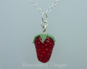 Strawberry Pendant and Optional Chain - Handmade Lampwork Glass & 925 Sterling Silver - Rowanberry Designs SRA - STRB1
