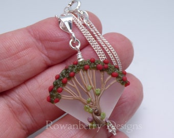 Rowan Berry Tree Pendant and Optional Chain - Art Nouveau Style Handmade Lampwork Glass & 925 Sterling Silver - Rowanberry Designs - TRP1