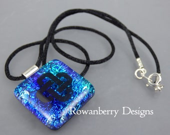 Celtic Knot Pendant Cord Necklace - Handmade Fused Art Dichroic Glass & 925 Sterling Silver - Rowanberry Designs - CLTC1