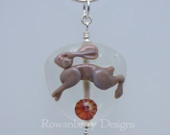 Leaping Hare - Pendant and (optional) Chain - Handmade Art Glass Bead & Sterling Silver