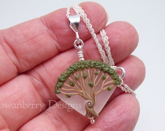 Oak Tree Pendant and Optional Chain - Handmade Lampwork Art Glass & 925 Sterling Silver