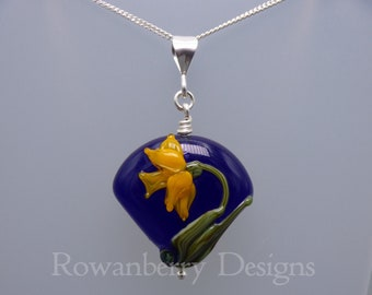 Daffodils Pendant and (optional) Chain - Art Nouveau Style Handmade Lampwork Glass & 925 Sterling Silver - Rowanberry Designs SRA DF1