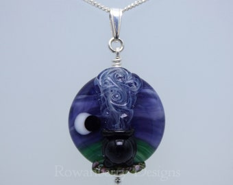 Smoking Witch's Cauldron - Pendant and (optional) Chain - Handmade Lampwork Art Glass Bead & Sterling Silver
