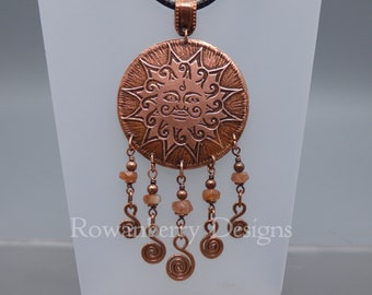 Large Sun Face Pendant Necklace - Etched Copper and Sunstone - on veggie cord necklace