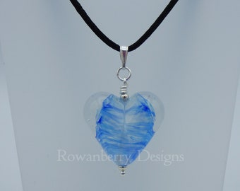 Swirling Heart Pendant Cord Necklace - HandmadeLampwork Art Glass Bead & 925 Sterling Silver - Rowanberry Designs HTB1