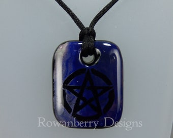 Pentagram Pendant Cord Necklace - Handmade Fused PaintedGlass & 925 Sterling Silver - Rowanberry Designs - PT2