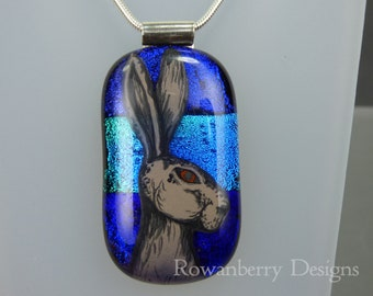 Handpainted Hare Pendant with Optional chain - Handmade Fused Painted Art Dichroic Glass & 925 Sterling Silver - Rowanberry Designs - DHR2