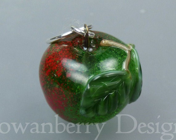 Apple (large) -  Handmade Lampwork Art Glass and Sterling Silver Pendant - Rowanberry SRA - APP5