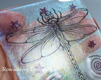 SECOND - DRAGONFLY - Handmade Fused & Painted Glass Picture Plaque and Stand - Rowanberry Designs - Painting - Drawing - Art- DR2