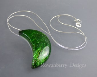 Sparkling Maiden Moon Pendant and Optional Chain - Handmade Fused Art Glass & 925 Sterling Silver - Rowanberry Designs - Claire Morris.