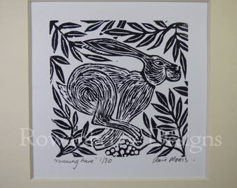 RUNNING HARE - Original lino cut print - Handprinted Limited edition - Rowanberry Designs