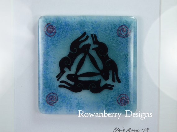 Triple Hares - Handmade Fused Painted Glass Picture in Frame- Rowanberry Designs - Painting - Drawing - Art - Original