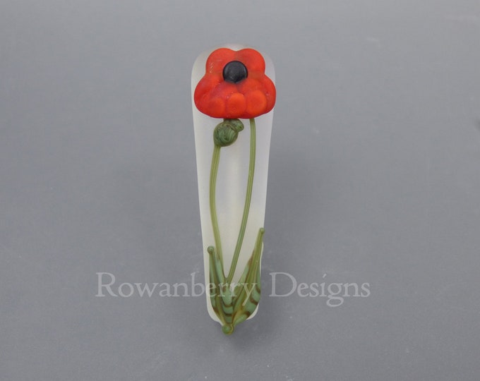 Featured listing image: Art Nouveau Poppy - Handmade Lampwork Glass Focal Bead - Rowanberry SRA - Pendant Upgrade available.