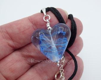 Swirling Heart Pendant Cord Necklace - Handmade Art Glass Bead & 925 Sterling Silver