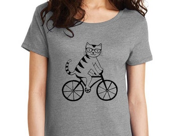 Cat riding bike bicycle nerd glasses screen print loose fit tee top kitty