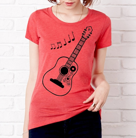 Acoustic Guitar Music Notes Fitted Vintage T Shirt Scoopneck Etsy