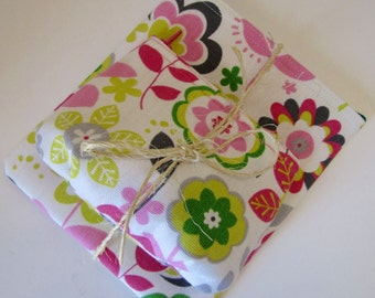 Pink Floral Coin Pouch and Makeup Bag Set
