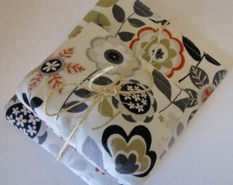 Grey Floral Coin Purse and Makeup Pouch Set