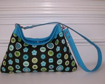 Button Print ALine Foldtop Shoulderbag