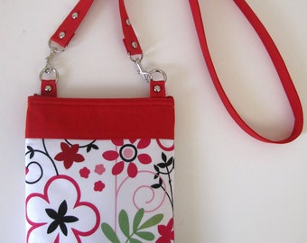 Red and White Floral  Corssbody Bag Long Strap Bag