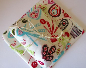 Zippered Coin Pouch and Makeup Bag Set in Bird and Floral Design