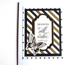 Get Well Card, Anna Griffin Card, Butterfly Card, Gold Foil, Gold Stripes, Fancy Handmade Card, Friend Card
