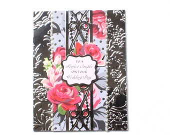 Wedding card with roses and silver foil. Wedding Card - Bride and Groom - Wedding Gift - Wedding Day Card - Fancy Card - Elegant Card