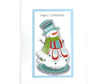 Christmas Cards - Xmas Cards - Christmas in July - Glitter Cards - Holiday Cards - Snowman Cards - Seasonal Cards - 3D Cards
