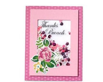 Floral Thank You Shaker Card - Floral Card - Card for Her- Botanical - Rose - Sequins
