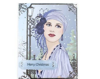 Christmas Cards, Unique Christmas Cards, Silver Foil Cards, Holiday Cards, Christmas Greetings, Winter Card, Seasonal Cards, Art Deco