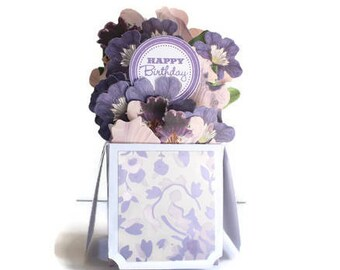 Birthday Card -Box Card - Card in a Box - Pop Up Card -  Floral Card -  Fancy Card - Flowers Card - 3D Card - Fancy Card - Spring Birthday
