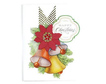 Christmas Cards - Holiday Cards - Christmas in July - Christmas Greetings - Anna Griffin, Christmas Bells - Poinsettia, Seasonal Cards