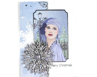 Christmas Cards, Christmas in July, Silver Foil Cards, Holiday Cards, Christmas Greetings, Snowflake Card, 3D Card, Seasonal Cards