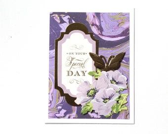 Birthday Card - Happy Birthday Card - Card for Mom - Card for Her - Floral Card -  Foil Card - Fancy Card - Flowers Card- Anna Griffin